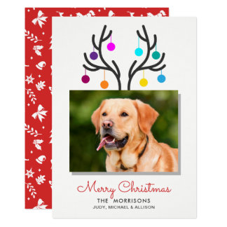 Merry Christmas Reindeer Antler Photo Pet Holiday Card