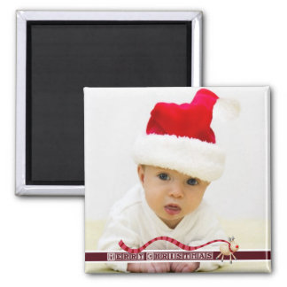Merry Christmas Reindeer & Block Text Square Magnet