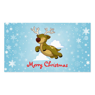 Merry Christmas Reindeer Double-Sided Standard Business Cards (Pack Of 100)