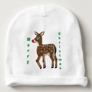 Merry Christmas Reindeer Candy Canes Baby Beanie