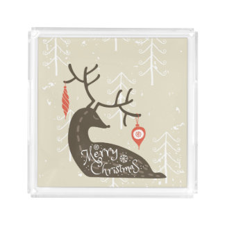 Merry Christmas Reindeer Cozy Acrylic Tray
