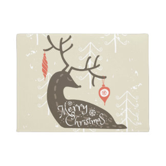 Merry Christmas Reindeer Cozy Doormat