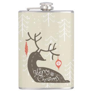 Merry Christmas Reindeer Cozy Hip Flask