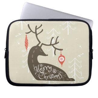 Merry Christmas Reindeer Cozy Laptop Sleeves