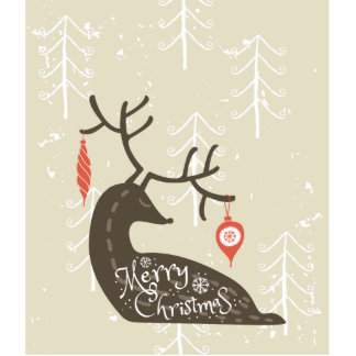 Merry Christmas Reindeer Cozy Photo Sculpture Magnet