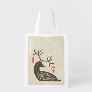 Merry Christmas Reindeer Cozy Reusable Grocery Bag