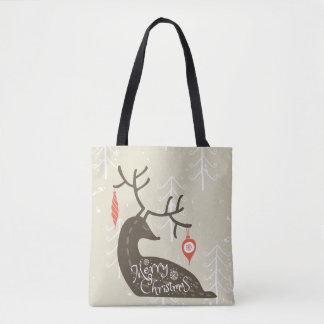 Merry Christmas Reindeer Cozy Tote Bag