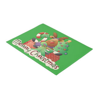 Merry Christmas reindeer Holiday door mat