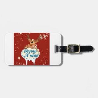 Merry Christmas Reindeer Luggage Tag