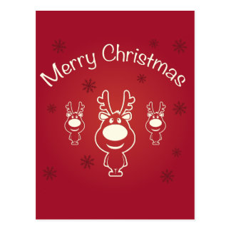 Merry Christmas Reindeers Postcard