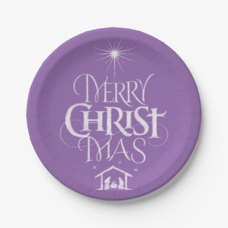 Merry Christmas Religious Calligraphy Chalk Purple Paper Plate