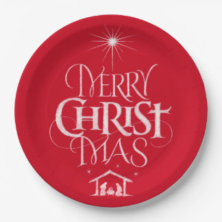 Merry Christmas Religious Calligraphy Chalk Red Paper Plate