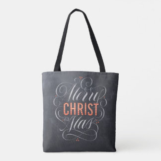 Merry CHRISTmas Religious Marquee Chalkboard Tote Bag