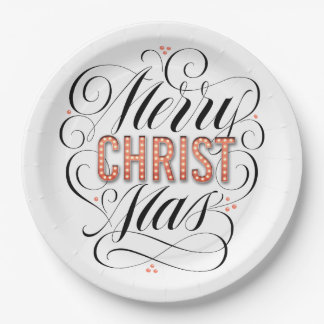 Merry CHRISTmas Religious Red Marquee Calligraphy Paper Plate