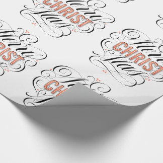 Merry CHRISTmas Religious Red Marquee Calligraphy Wrapping Paper