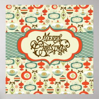 Merry Christmas Retro Ornament Design Poster