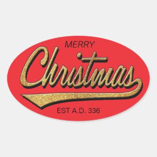Merry Christmas Retro Stickers OVAL