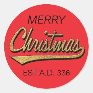 Merry Christmas Retro Stickers Round