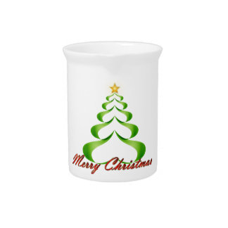 Merry Christmas Ribbon Tree Pitcher