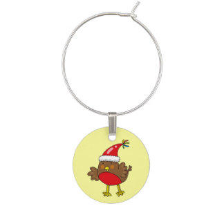 Merry Christmas robin bird Wine Charm