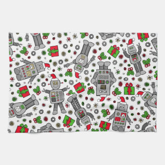 Merry Christmas Robots Tea Towel