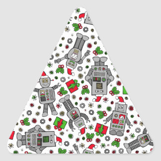 Merry Christmas Robots Triangle Sticker