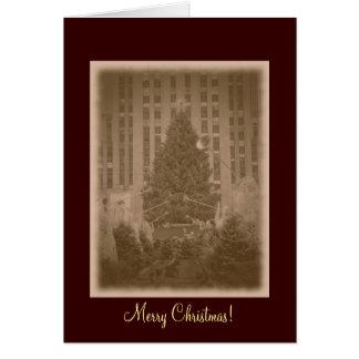 Merry Christmas- Rockefeller Center Tree-Vintage Greeting Card