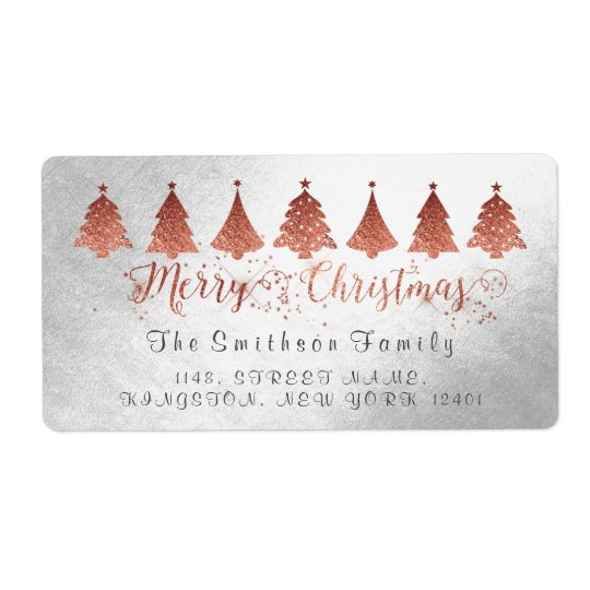 Merry Christmas Rose Pink Gold Silver Address Shipping Label