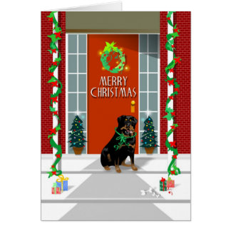 Merry Christmas - Rottweiler dog - Greeting Card