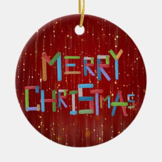 Merry Christmas Round Ceramic Decoration