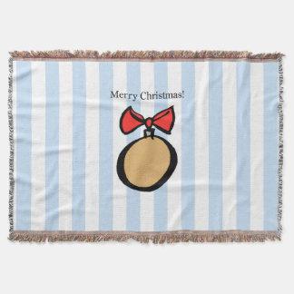Merry Christmas Round Ornament Throw Blanket Blue