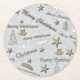 Merry Christmas Round Paper Coaster
