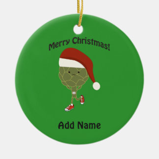 Merry Christmas! Running Artichoke Ceramic Ornament