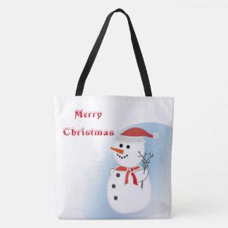 Merry Christmas rustic cute snowman tote bag