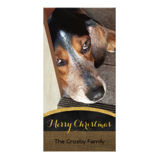 Merry Christmas Rustic | Pet Photo DIY Beagle Dog Card