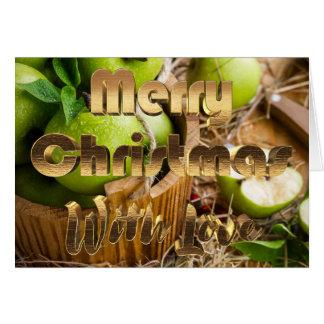 Merry Christmas Rustic Picnic Apples Fruit Basket Card