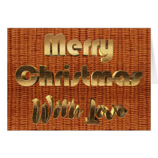 Merry Christmas Rustic Picnic Basket Wicker Photo Card