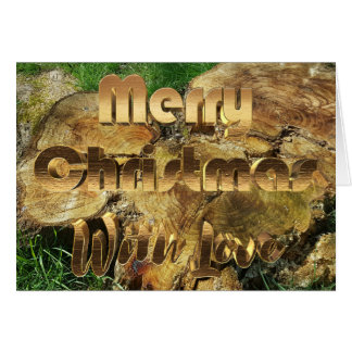 Merry Christmas Rustic Wood Tree Trunk Grass Photo Card