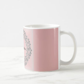 Merry Christmas rusty pink mug with lace frame