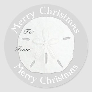 Merry Christmas Sand Dollar Gift Tag Round Sticker