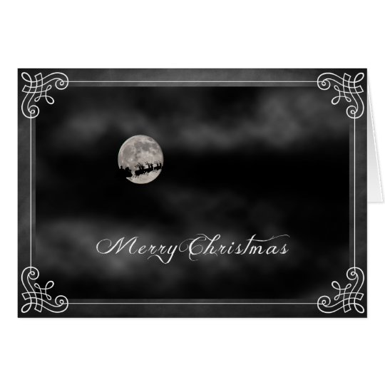 Merry Christmas Santa across the moon Card