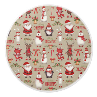 Merry Christmas Santa And Friends Ceramic Knob
