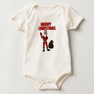 Merry Christmas Santa and gift bag Baby top