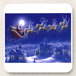Merry Christmas Santa and His Sleigh Drink Coasters