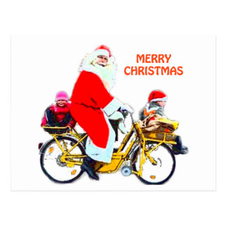 Merry Christmas Santa and Kids Postcard