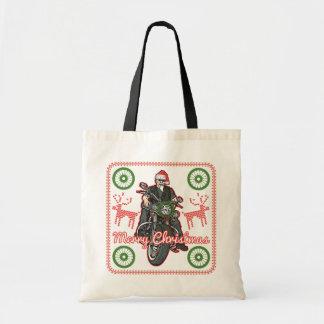 Merry Christmas Santa Biker Motorcycle Holiday Budget Tote Bag
