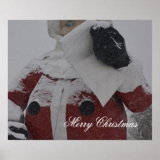Merry Christmas Santa Blizzard Storm Street City Print