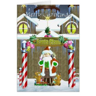 Merry Christmas santa checking list Greeting Card