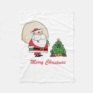 Merry Christmas Santa Claus and a Christmas Tree Fleece Blanket