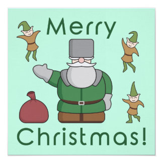 Merry Christmas Santa Claus and Elves 13 Cm X 13 Cm Square Invitation Card